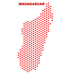 madagascar island map - mosaic of lovely hearts vector image