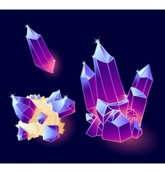Magic crystals blue purple colors vector image