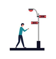 man walking street sign arrow light vector image
