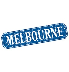 Melbourne blue square grunge retro style sign vector