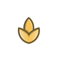 minimalist wheat grain agriculture logo design vector image