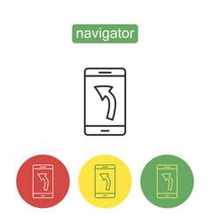 Mobile navigator outline icons set vector