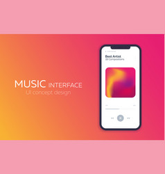 mobile ui design concept music player vector image