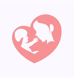 Mother holding little baby in heart shaped vector
