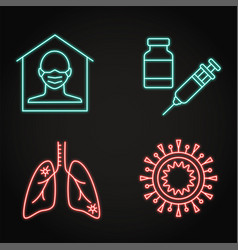neon coronavirus infection icon set in line style vector image