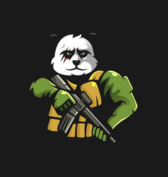 panda army mascot vector image