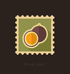 Passionfruit flat stamp tropical fruit vector