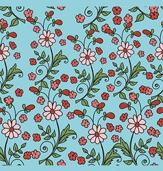 Pattern with flowers on a blue background vector