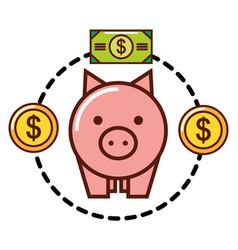 piggy bank coins money dollar vector image