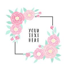 pink peonies frame vector image