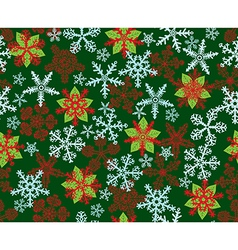 Poinsettias Snowflakes Green vector