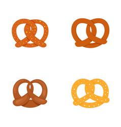 Pretzel oktober fest icons set flat style vector