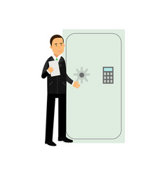 professional bank manager standing near closed vector image