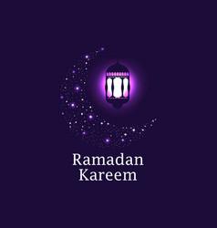 ramadan kareem crescent and lantern stars vector image