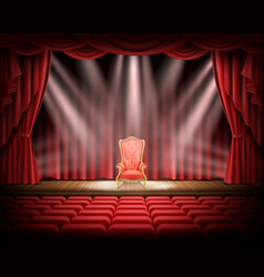 Red curtain and theatrical stage with red vintage vector