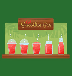 red organic strawberry smoothie cocktails flat set vector image