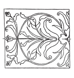 renaissance oblong panel is an intarsia or wood vector image
