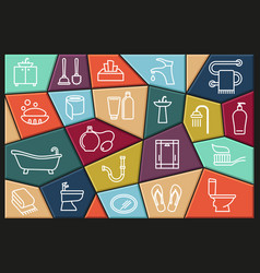 restroom bathroom toilet con set collection of vector image