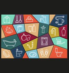 restroom bathroom toilet con set collection vector image