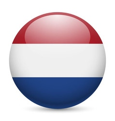 Round glossy icon of netherlands vector image