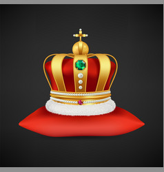 royal crown realistic luxury gold symbol vector image