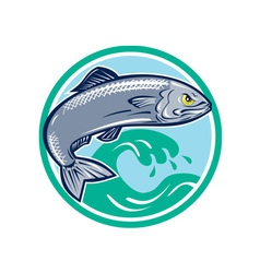 Sardine Fish Jumping Circle Retro vector