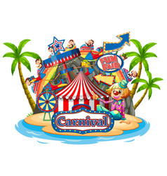 Scene with monkeys riding on circus rides on vector