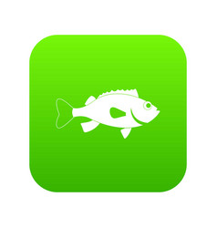 Sea bass fish icon digital green vector