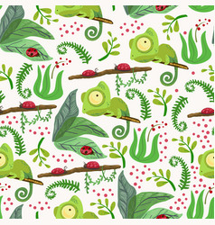 seamless pattern with chameleon forest pattern vector image