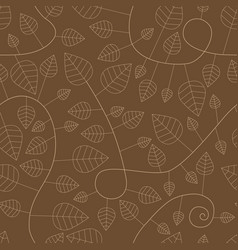 seamless pattern with leaves and curves vector image