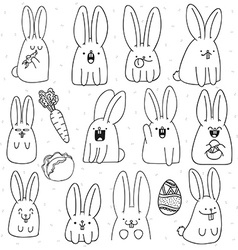 Set 12 sticker rabbit doodle with different vector image