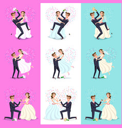 Set happy couple celebrating marriage dancing vector