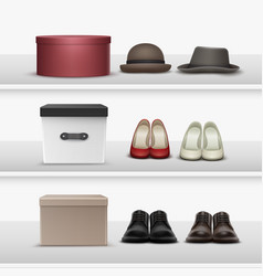 Shelves with footwear and hats vector