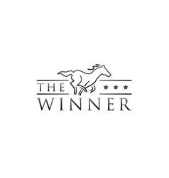 Simple line art horse race logo symbol vector