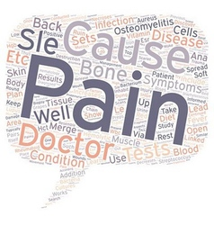 SLE and Back Pain text background wordcloud vector