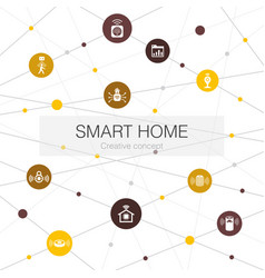 Smart home trendy web template with simple icons vector