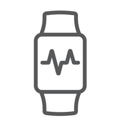 smart watch line icon electronic and digital vector image