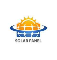 solar home logo template solar panel and sun vector image