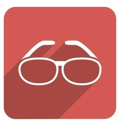 Spectacles Flat Rounded Square Icon with Long vector