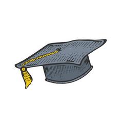 Square academic cap color sketch engraving vector