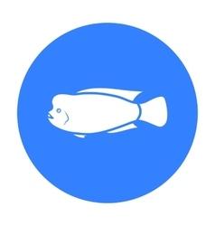 Stearocranus fish icon black Singe aquarium fish vector