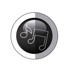 sticker black circular frame with musical notes vector image