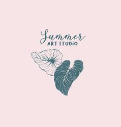 Summer art studio school logo design vector