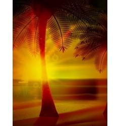 Sunset on the beach of sea vector image