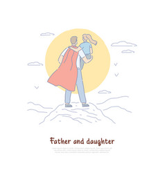 super dad holding kid in arms back view young vector image