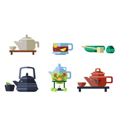 tea ceremony accessories set cups teapots tea vector image