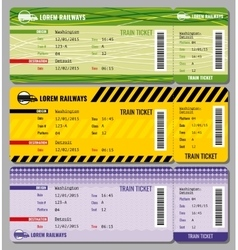 Train vintage travel tickets set vector