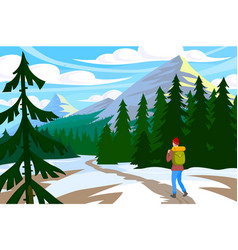 Traveler walk in mountain vector