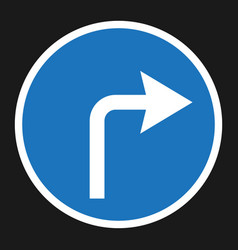 Turn right arrow sign flat icon vector
