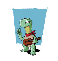 Ukulele playing turtle vector
